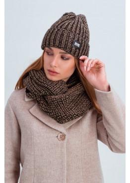 Стильный комплект шапка со снудом «Айова» крупного плетения, коричневый