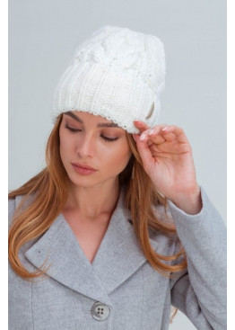 Вязаная женская шапка «Эри» крупной вязки, белая