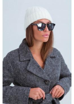 Осенняя женская шапка «Атланта», плетение в полоску, белый