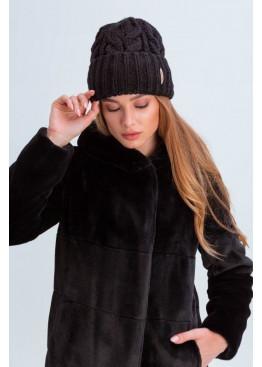 Вязаная женская шапка «Эри» крупной вязки, черная