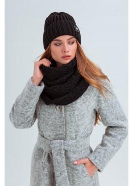Стильный комплект шапка со снудом «Айова» крупного плетения, чёрный