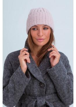 Осенняя женская шапка «Атланта», плетение в полоску, пудровый