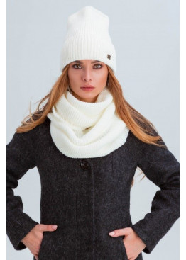 Шапка и шарф из мелкой вязки «Остин», белый