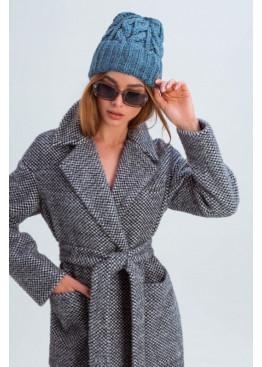 Вязаная женская шапка «Эри» крупной вязки, синяя