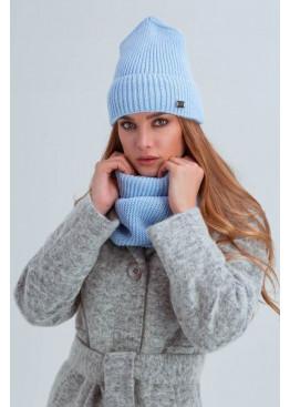 Шапка и шарф из мелкой вязки «Остин», голубой