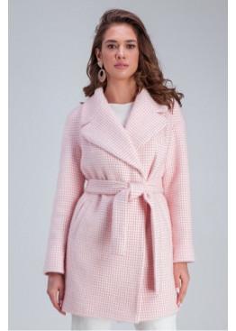 Пальто демисезонное оверсайз «Лили» из теплой пушистой шерстяной ткани в клетку