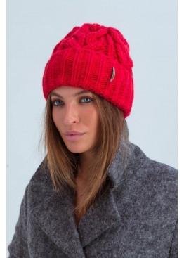 Вязаная женская шапка «Эри» крупной вязки, красная