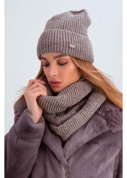 Шапка и шарф из мелкой вязки «Остин», капучино