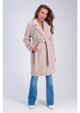 Стильное меховое пальто «Ума» из искусственной альпаки, бежевый