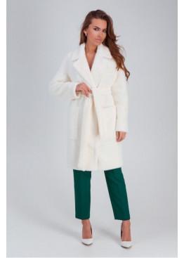 Стильное меховое пальто «Ума» из искусственной альпаки, белый