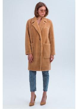 Стильное меховое пальто «Ума» из искусственной альпаки, кэмел