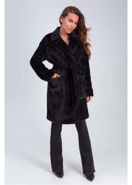 Стильное меховое пальто «Ума» из искусственной альпаки, черный