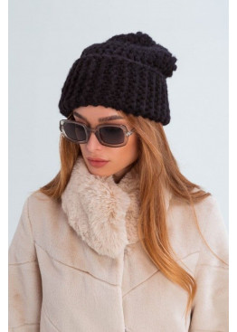 Вязаная шапка «Даллас» из крупной вязки, черная