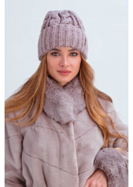 Вязаная женская шапка «Эри» крупной вязки, пудра
