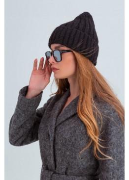 Осенняя женская шапка «Атланта», плетение в полоску, черная