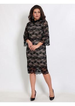 Платье коктейльное гипюровое с воротниковой горловиной черного цвета