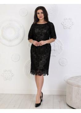Платье коктейльное из мягкого гипюра черного цвета
