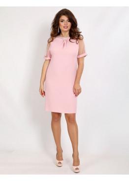 Платье коктейльное прямого кроя с декоративной вышивкой камнями, персик