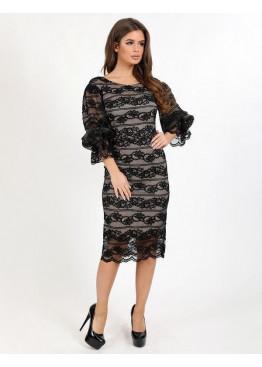Платье коктейльное с рукавами-фонариками, черное