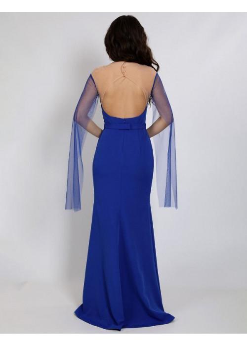 Платье вечерне с рукавами из сетки, синее