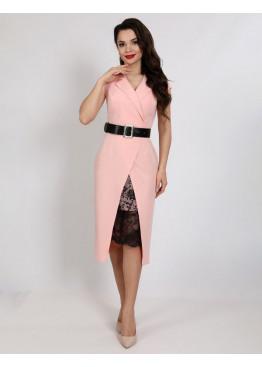 Платье деловое с гипюровой вставкой и поясом из экокожи