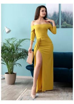 Платье из люрексового трикотажа с разрезом