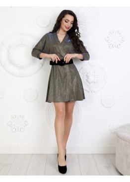 Платье коктейльное из люриксового трикотажа с широким поясом