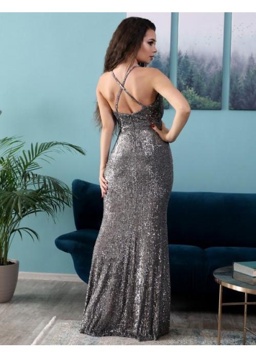 Платье вечернее из мягкой пайетки на сетке на брителях