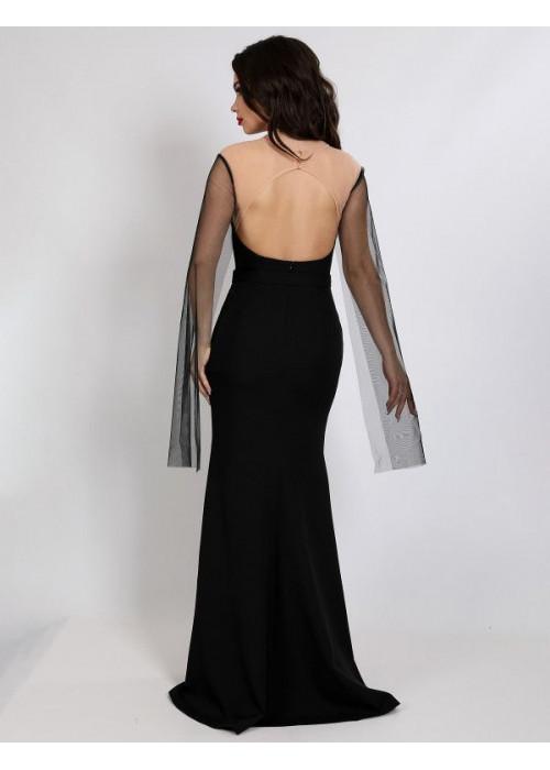 Платье вечерне с рукавами из сетки, черное