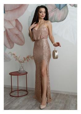 Платье вечернее из мягкой пайетки на сетке на бретелях