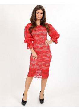 Платье коктейльное с рукавами-фонариками, красное