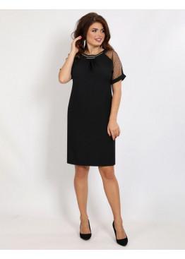 Платье коктейльное прямого кроя с декоративной вышивкой камнями, черное