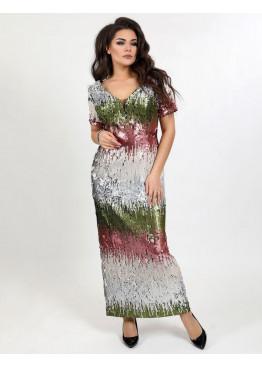 Платье вечернее из пайеток с разрезом, мультиколор