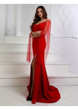 Платье вечерне с рукавами из сетки, красное