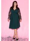 Платье с запахом и объёмными рукавами в сетку с вышивкой