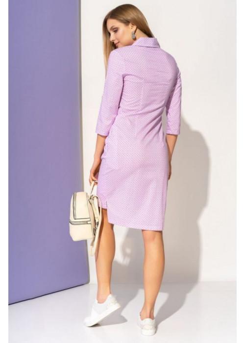 Асимметричное платье-рубашка с запахом и завязкой, сиреневый