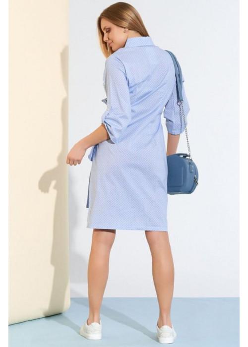 Асимметричное платье-рубашка с запахом и завязкой, голубой