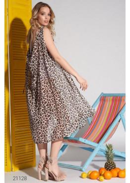 Пляжная накидка с леопардовым принтом, коричневый