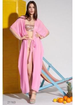 Пляжная накидка макси с поясом, розовый