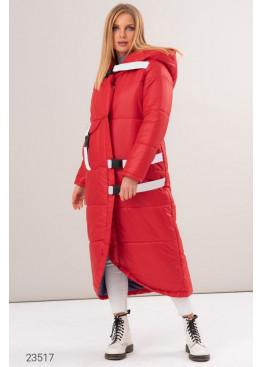 Дутая длинная куртка с асимметричным нижним краем, красный