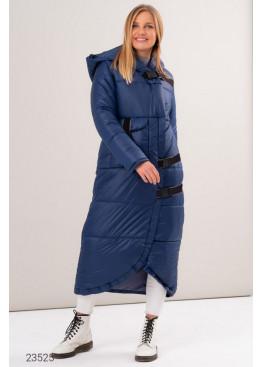 Дутая длинная куртка с асимметричным нижним краем, синий