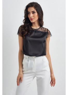 Шелковая блуза с кружевной вставкой, черная