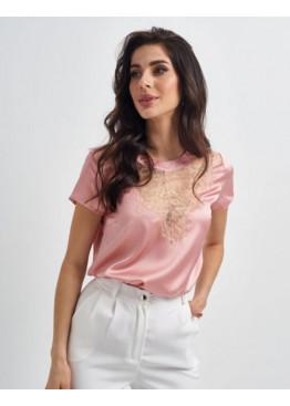 Шелковая блуза с вырезом-капелькой, розовая