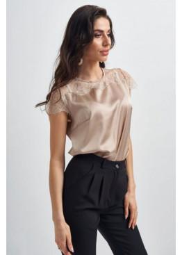 Шелковая блуза с кружевной вставкой, беж