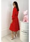 Летнее платье миди в горох с резинкой на талии, красное