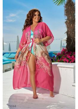 Пляжная накидка с рукавами кимоно, розовый