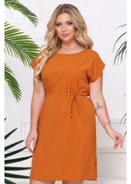 Платье-футболка с поясом, оранжевый