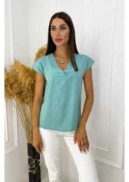 Блуза с V-образным вырезом, ментол