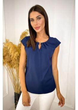 Блуза со сборками с декором, синий