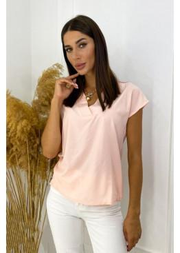Блуза с V-образным вырезом, розовый